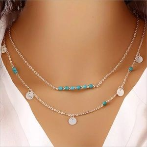 Jewelry - Turquoise Colored Metal Discs Necklace